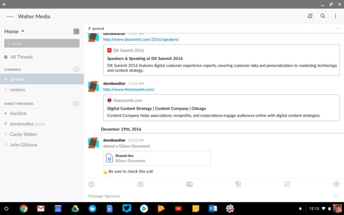 android apps chromebook slack