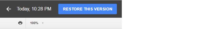 Google Drive collaboration - restore this version button