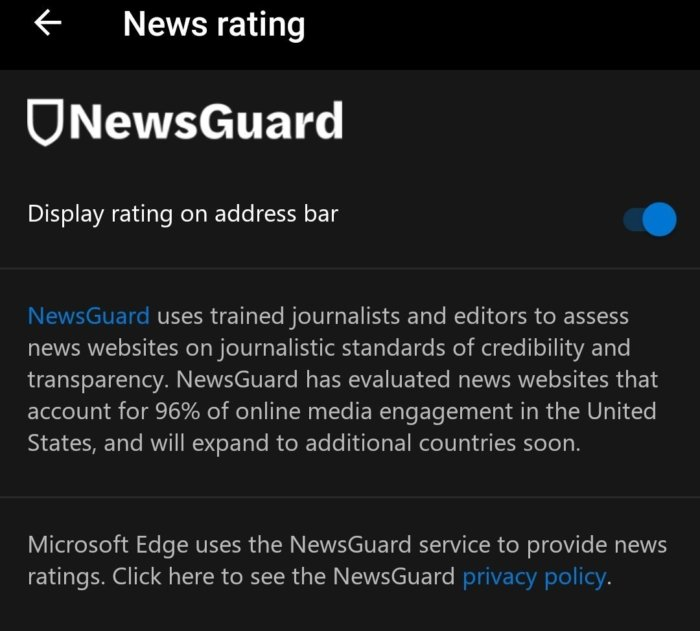 Microsoft Edge newsguard setting 2