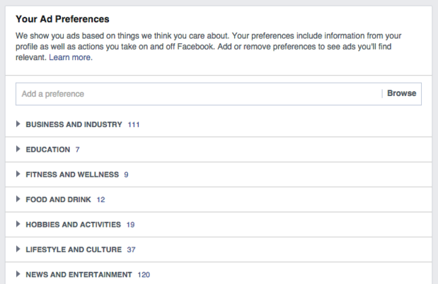 facebook ad preferences - 1