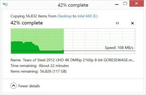 slowdown after many copies 660p
