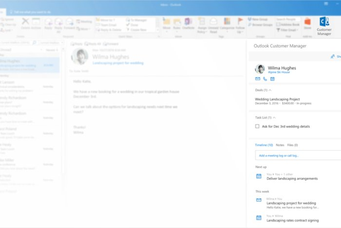 outlook customer manager pane