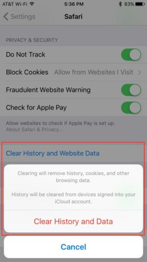 3. delete browser cache iphone