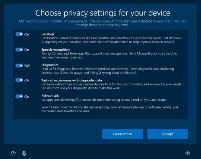 Win10 Creators Update: Privacy settings