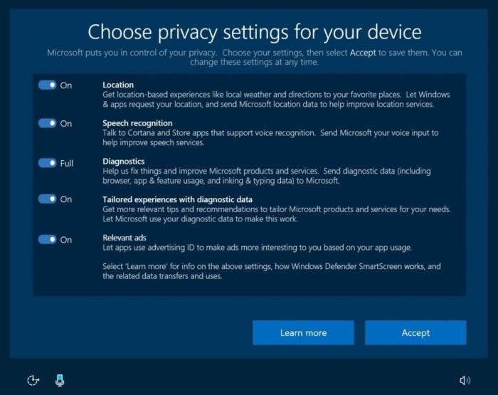 Win10 Creators Update: Privacy settings