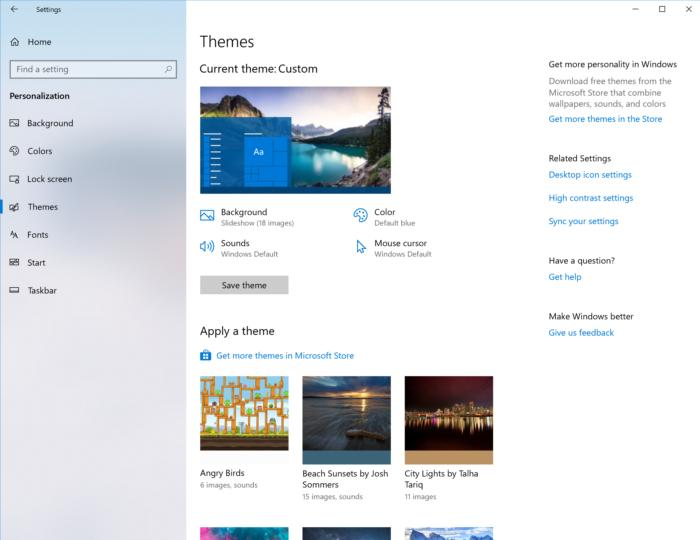 Windows 10 personalization themes