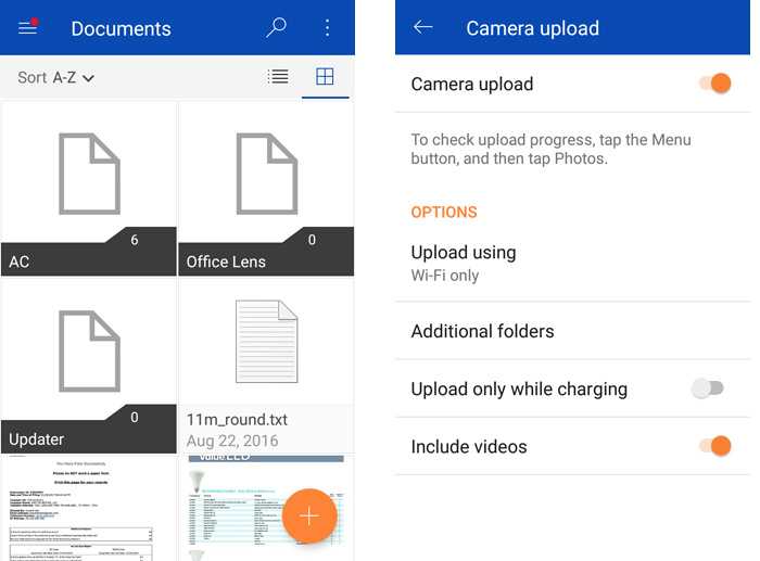 OneDrive app on Android