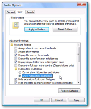show hidden files windows7