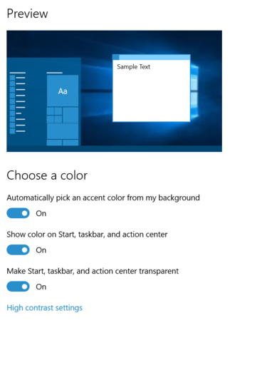 win10 color option