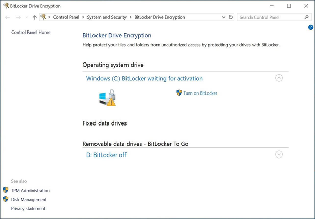 checking that Windows BitLocker encryption is enabled