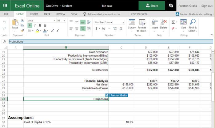 Excel Online sharing