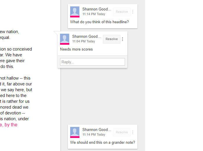 Google Drive collaboration - comment cards