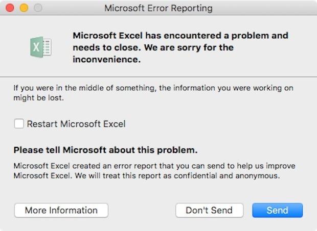 Excel falls down