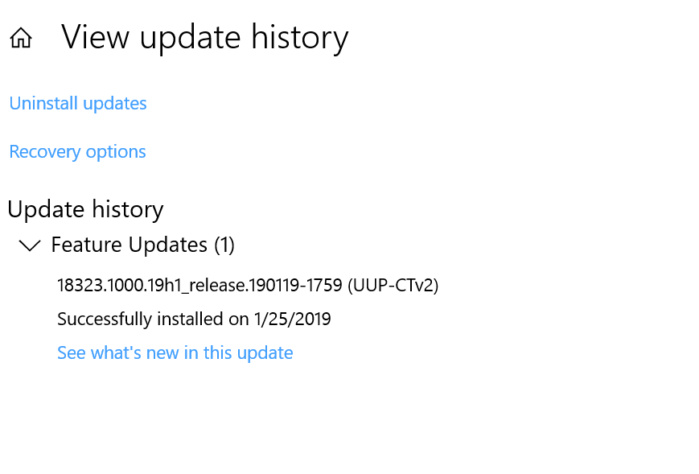 windows 10 build 18323 history
