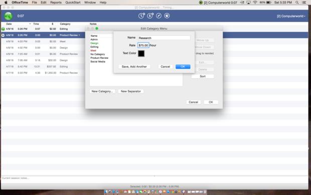 OfficeTime category customization