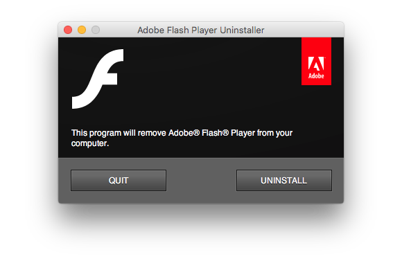 uninstall flash step1