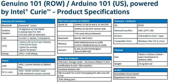 arduino 101 specs