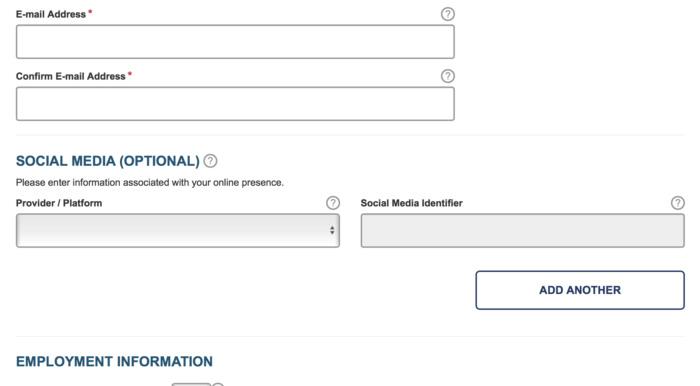 ESTA form asks for social media information