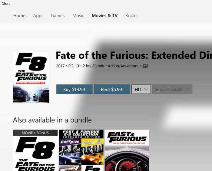 fate of the furious Microsoft Store