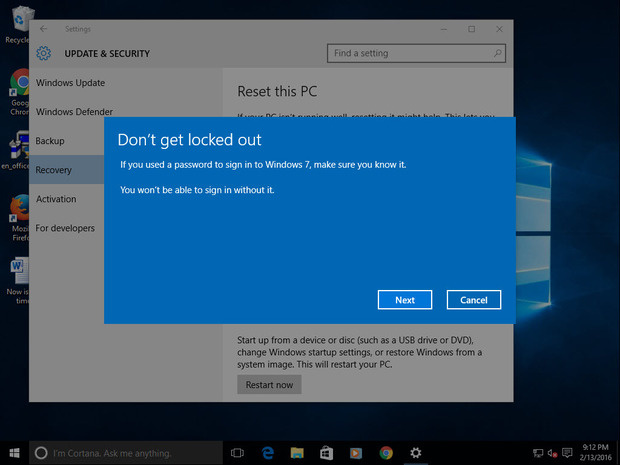 Roll back Windows 10 and keep or remove files