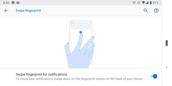 Pixel 3 swipe fingerprint
