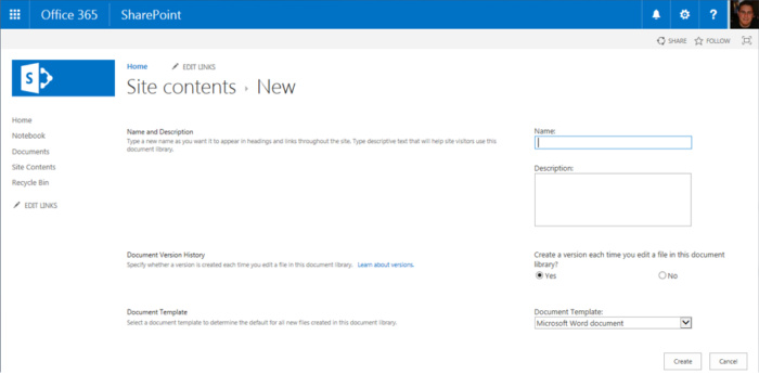 SharePoint Online - site contents new