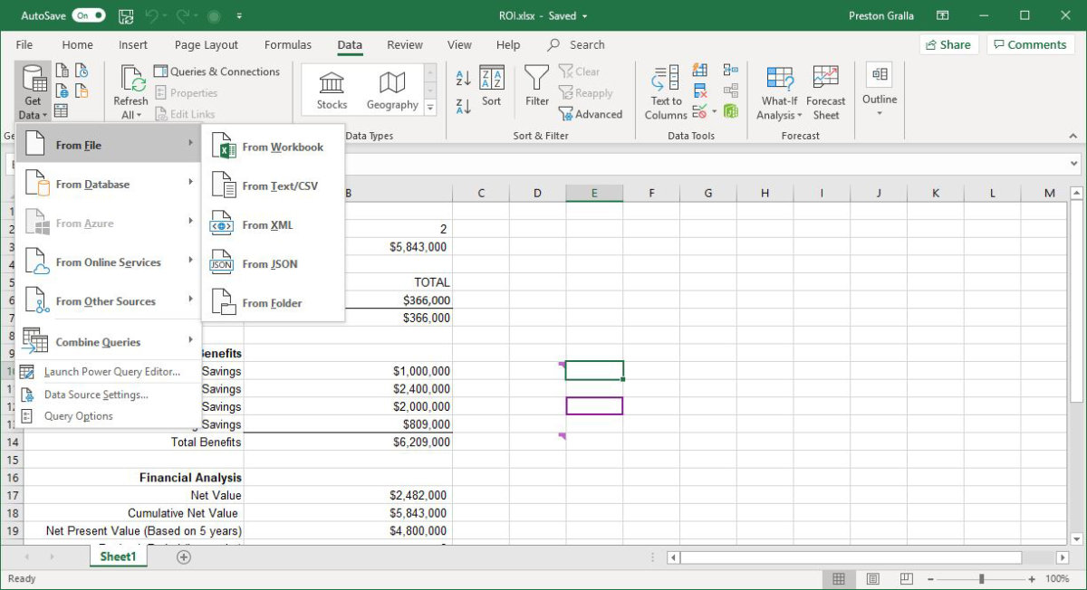 excel office365 get transform