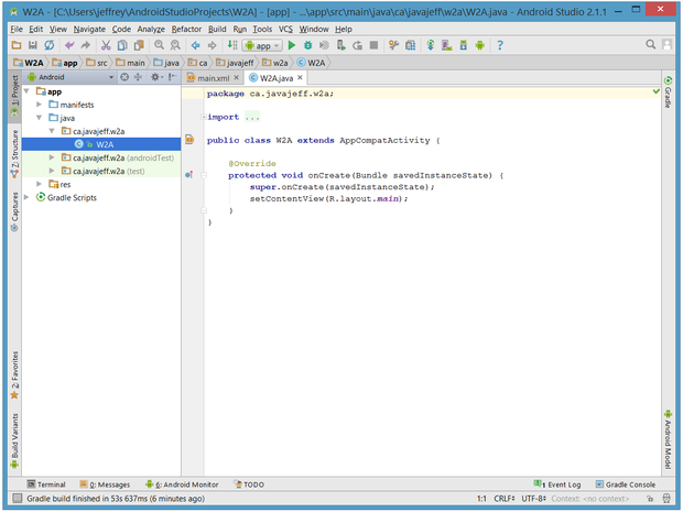 Project information appears in the window on the left; a tabbed editor window appears on the right.