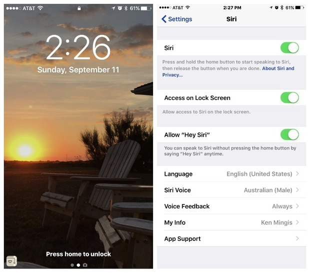 ios 10 lock screen and siri
