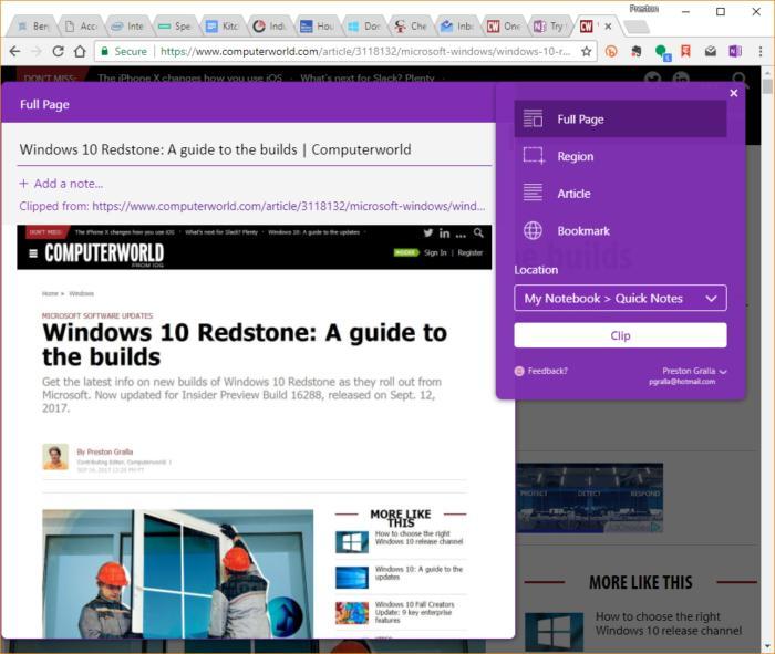 Microsoft OneNote web clipper