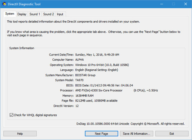 Windows 10 DirectX Diagnostic Tool