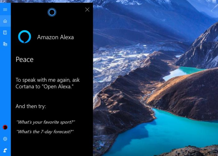 Microsoft Windows 10 October Update talking with alexa 2