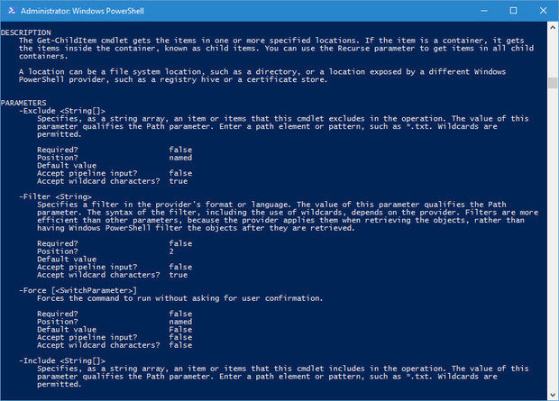 PowerShell get-help -full