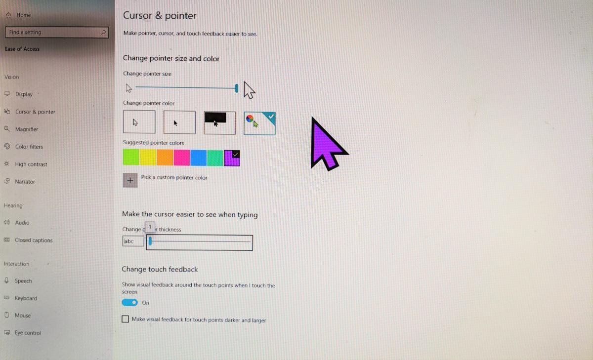 Windows 10 April 2019 Update cursors