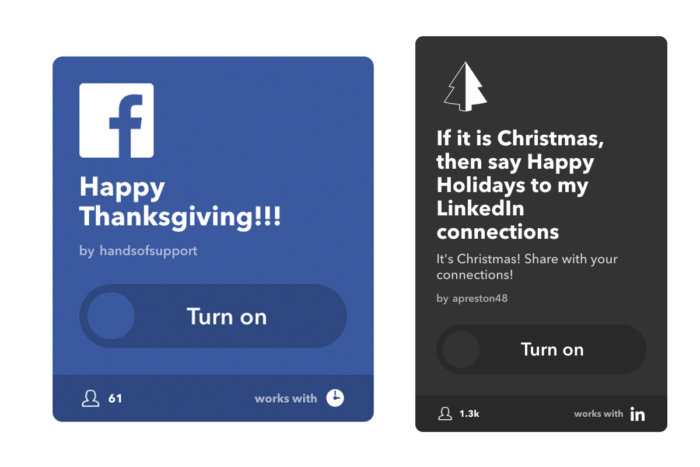 4. ifttt holiday greetings