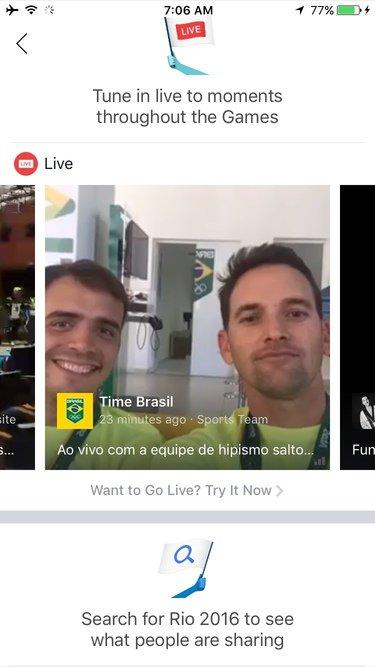 olympics screenshot from facebook app