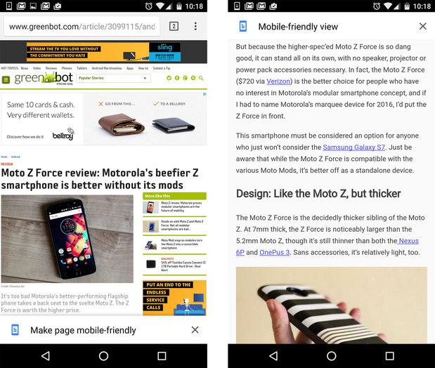 chrome android tips reader mode