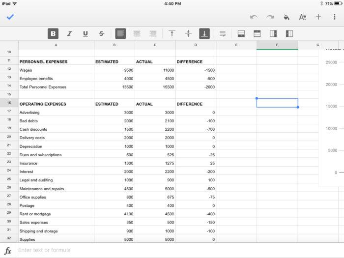 Google Sheets iOS client