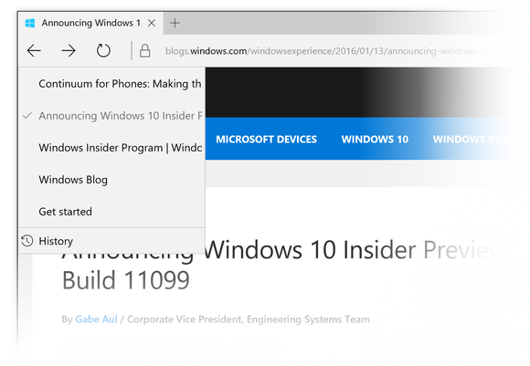 Microsoft edge history windows 10 build 11099