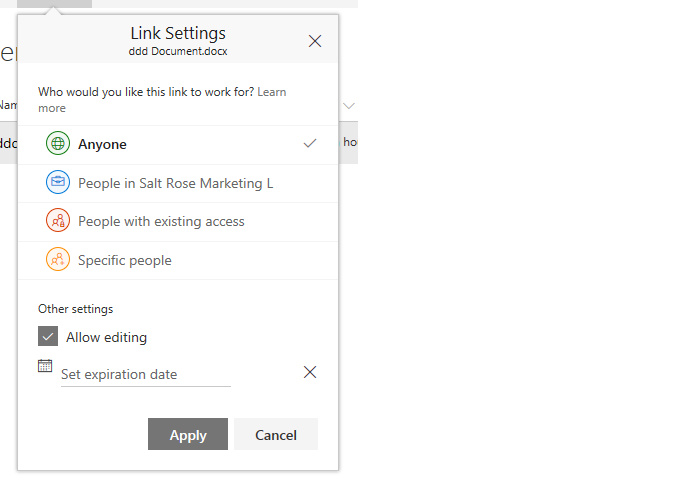 SharePoint Online - share link settings