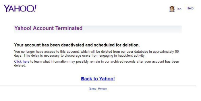 yahoo delete account