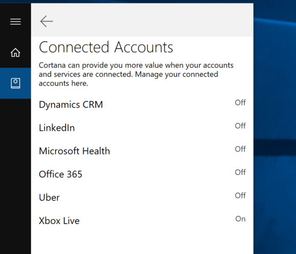 cortana connected accounts