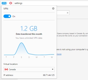 opera vpn data