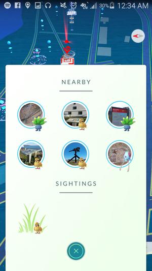 pokemon go nearby