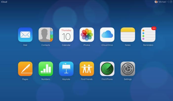 iCloud.com main screen