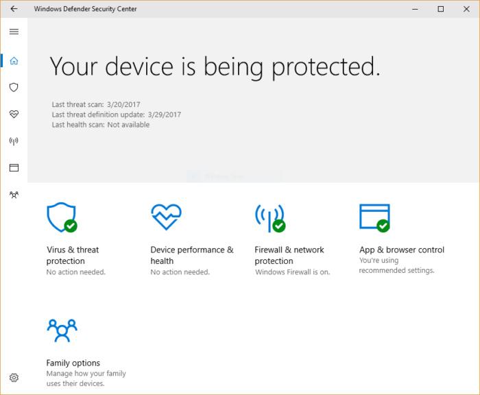 windows 10 creators update - defender