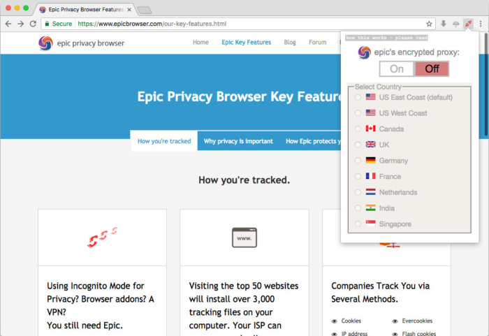 epic browser turn on proxy