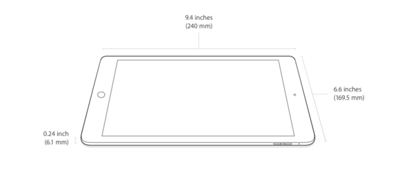 ipad air 2 dimensions