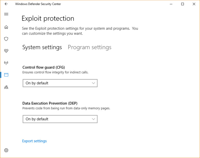 Windows 10 Fall Creators Update - exploit protection settings