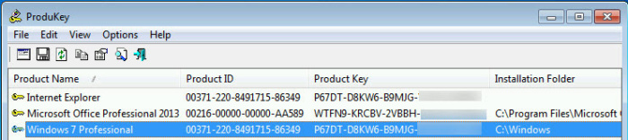 Find your Win7 product key with ProduKey